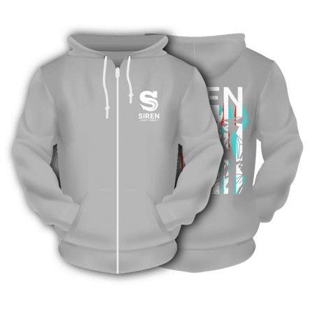 Grey Illusion Siren Zipped Hoodie